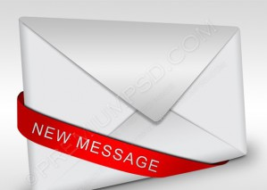 Detailed Envelope Icon With Red Ribbon – PSD Download