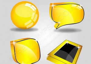 Four Yellow Glossy Shiny Web Icons – PSD Download