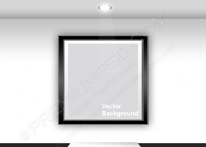 Gallery Interior With Empty Black Frame – PSD Download