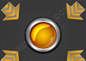 Orange Glossy Button With Arrows – PSD Download