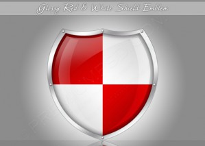 Glossy Red & White Shield Emblem – PSD Download