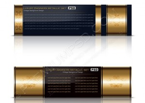 Luxury Gold Banners Metallic Set – PSD Download