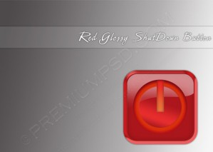 Red Glossy Shutdown Button – PSD Download