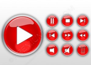Red Media Set Icons Vector – PSD Download
