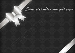 Silver Gift Ribbon With Gift Paper – PSD Download