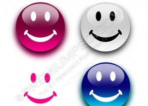 Smiley Glossy Round Vector Buttons – PSD Download