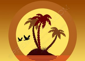 Sunset Island Palms And Birds Vector – PSD Download