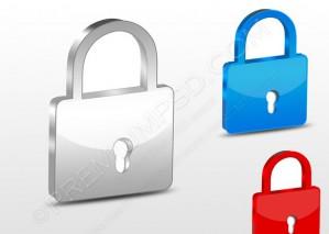 3D PadLock Symbol Set – PSD Download