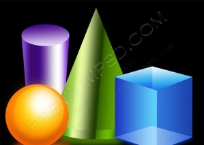3D Shapes Icons On a Black Background- PSD DOwnload
