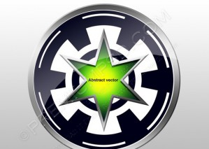 Abstract Vector Design 3D Green Star In Wheel – PSD Download
