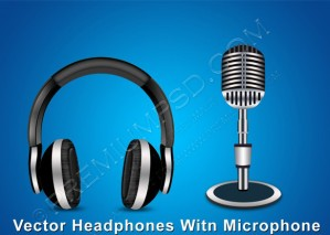 Vector Headphones Witn Microphone – PSD Download
