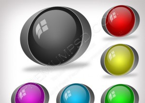 3D Color Buttons For Web Vector – PSD Download