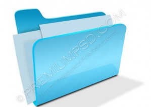 Blue Folder Icon Isolated On White – PSD Download