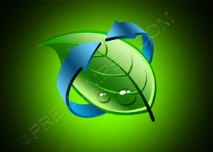 Green Design Leaf With Blue Arrow – PSD Download