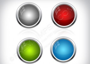 Metal Web Buttons Vector – PSD Download