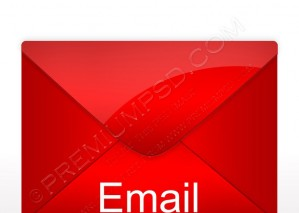Red Email Envelope Icon – PSD Download