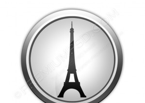 Vector Icon Button Silhouette Eiffel Tower – PSD Download