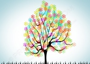 Abstract Colorful Tree Background – PSD Download