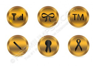Golden Black Web Icons – PSD Download
