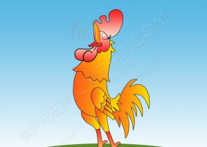 Happy cartoon Rooster Vector – PSD Download