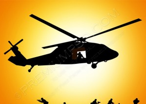 Vector Helicopter Is Dropping Troop – PSD Download
