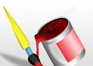 Paint Bucket With Brush – PSD Download