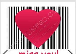 Pink Heart Marked By Barcode Vector PSD Download