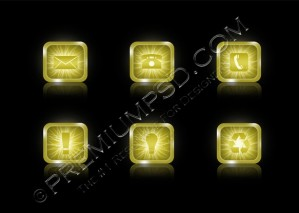 Shiny Golden Icons – PSD Download