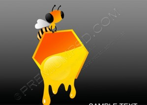 Vector  Bee With Fluid Honey – PSD Download