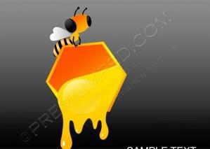 Vector  Bee With Fluid Honey – PSD Download