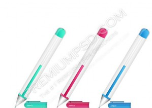 Vector Color Ballpoint Pens 3d – PSD Download