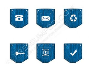 Vector Web Icons On Jeans Pocket – PSD Download