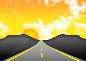 Sunset Road Vector – PSD Download