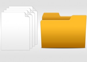 Learn to Create Empty Folder icon and White Folded Papers