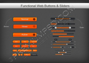 Orange Functional Web Buttons and Sliders
