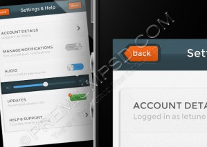 App design – Settings page