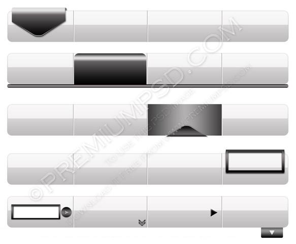 silver navigation menu bars