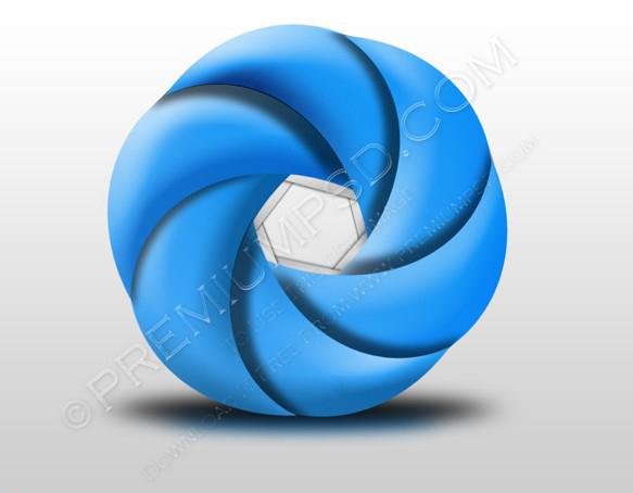 metallic blue curve shape