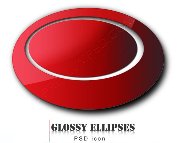 3d red glossy ellipses