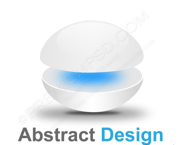 3d glossy sphere blue and white