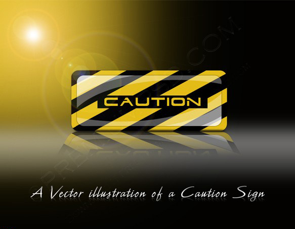 A Vector illustration Of A Caution Sign