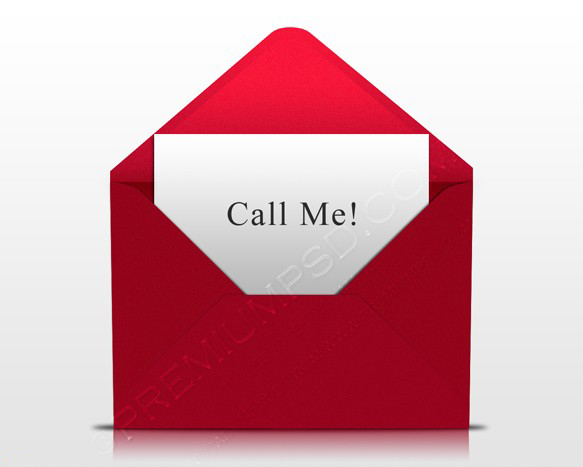 Call Me Card in Red Envelope