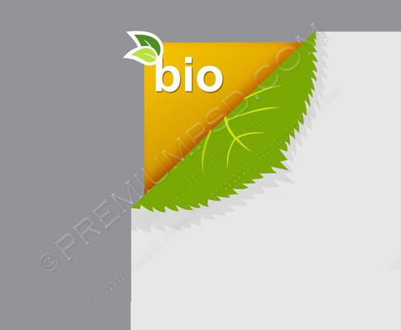 Corner on paper with bio sign