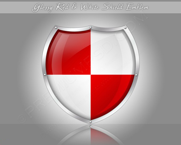 Glossy Red And White Shield Emblem on Grey Background