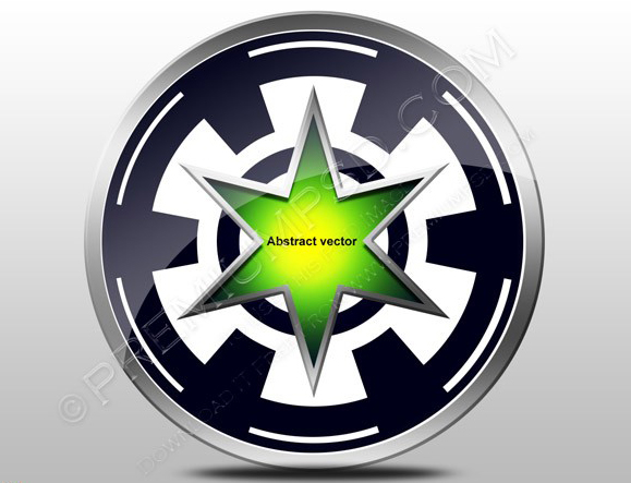 Abstract vector design 3d Green star in Wheel