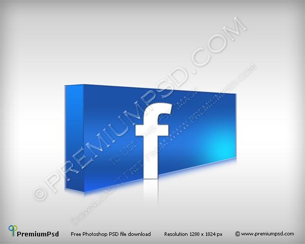 3D Facebook Logo – PSD Download