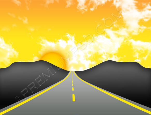 sunset road vector