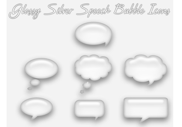 Glossy Silver Speech Bubble Icon