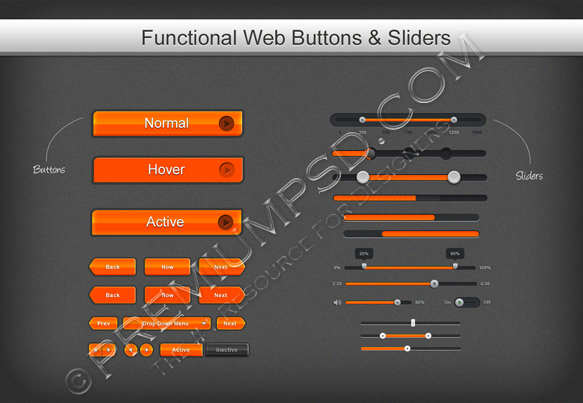 Functional web Buttons sliders